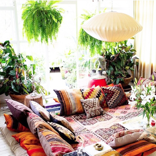 Bohemian Living Room Layers Of Pillows