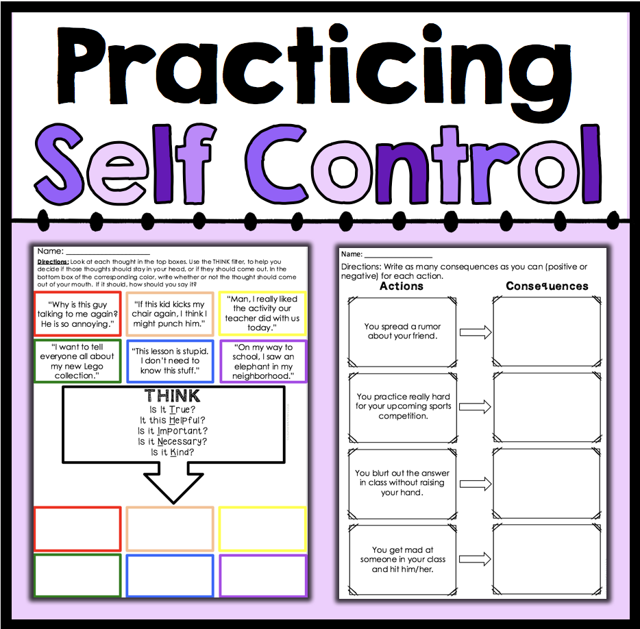 Worksheets Self Control Worksheets practicing self control counselorchelsey on tpt pinterest help students learn about though these 7 worksheets 6 posters and 1 cut paste activity will what self