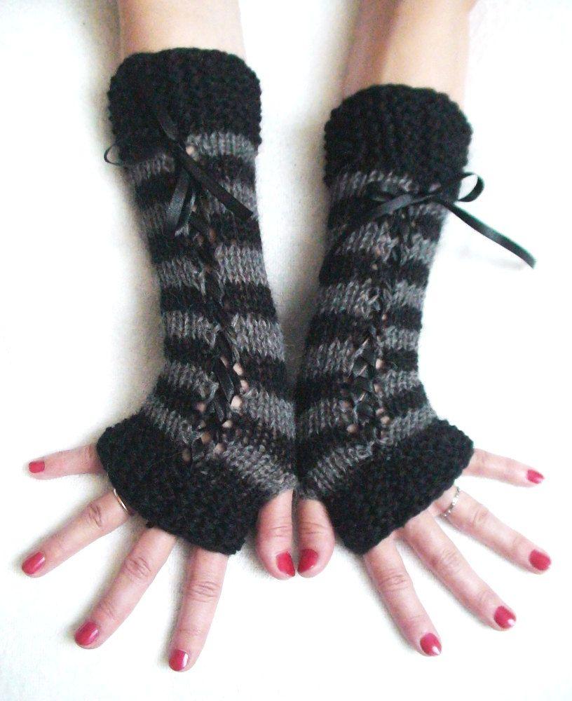 Black Knit Fingerless Gloves Goth Steampunk Rockabilly Punk Halloween Victorian