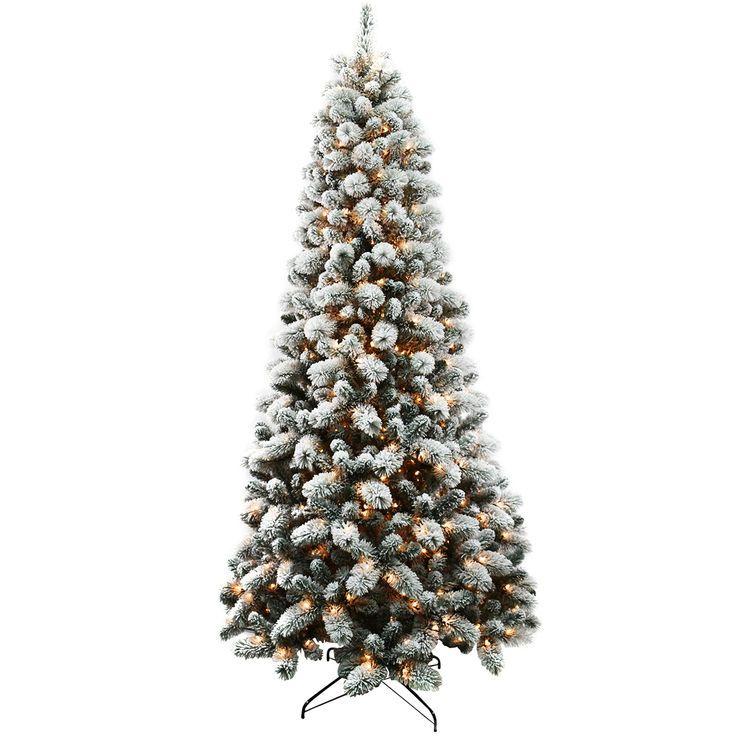 D26 9 Ft Pre Lit Haven Flocked Pine Christmas Tree Pine