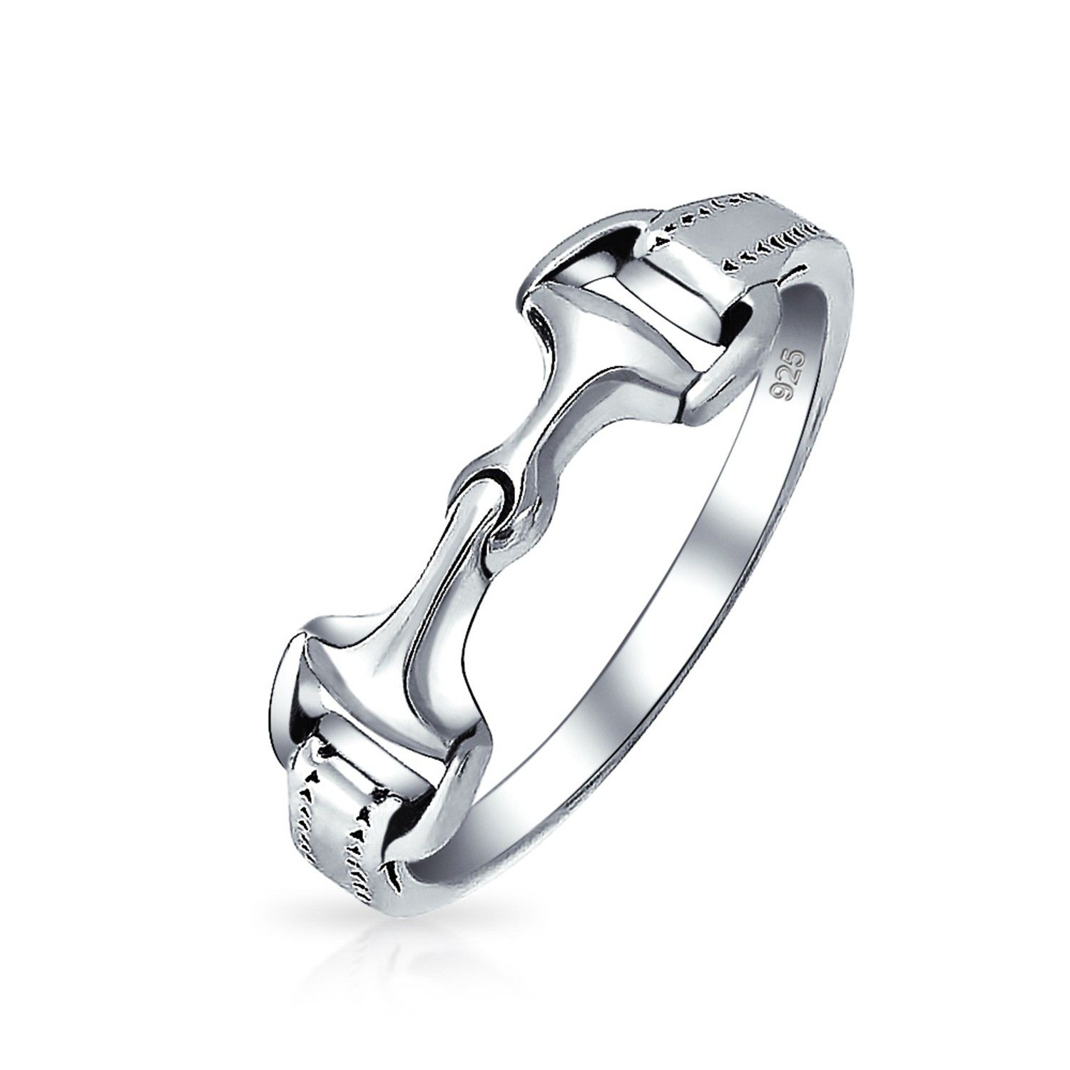 Double Horsebit Equestrain Ring 925 Sterling Silver Band