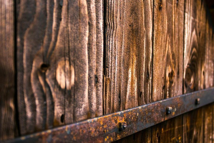 Old wooden door with Structure of Remco Bosshard on canvas, …