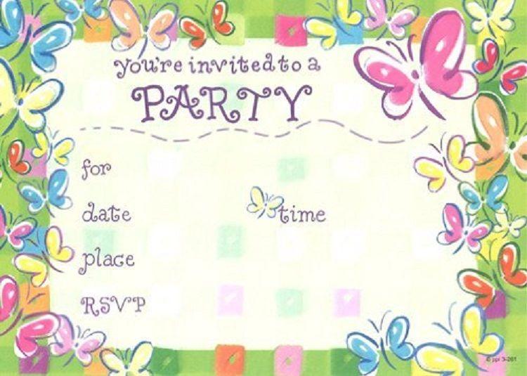 Butterfly Birthday Invitation Blank Free Printable
