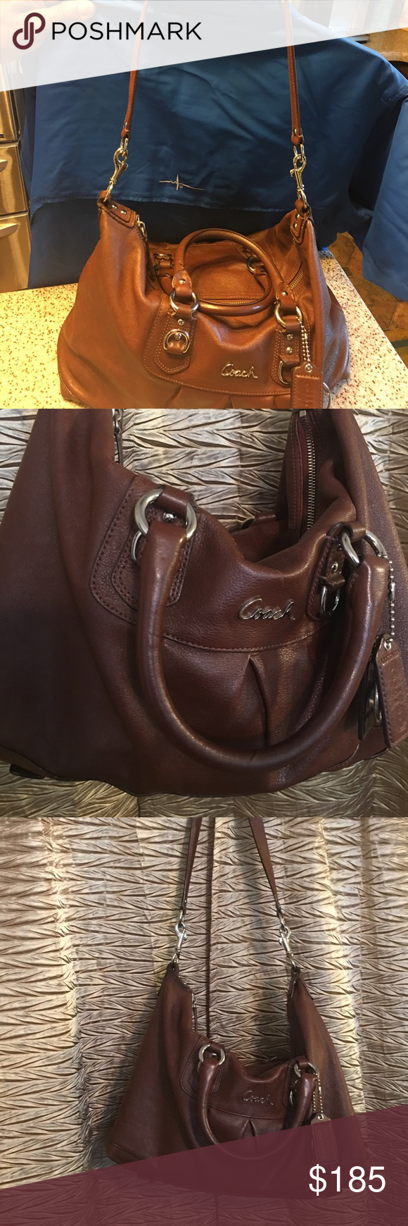Coach Good soft long strap coach bag brown leather little fading color I'm pulling things out of my closet to shop some more 💕💕great large satchel bag 4inside pocket Coach Bags Satchels