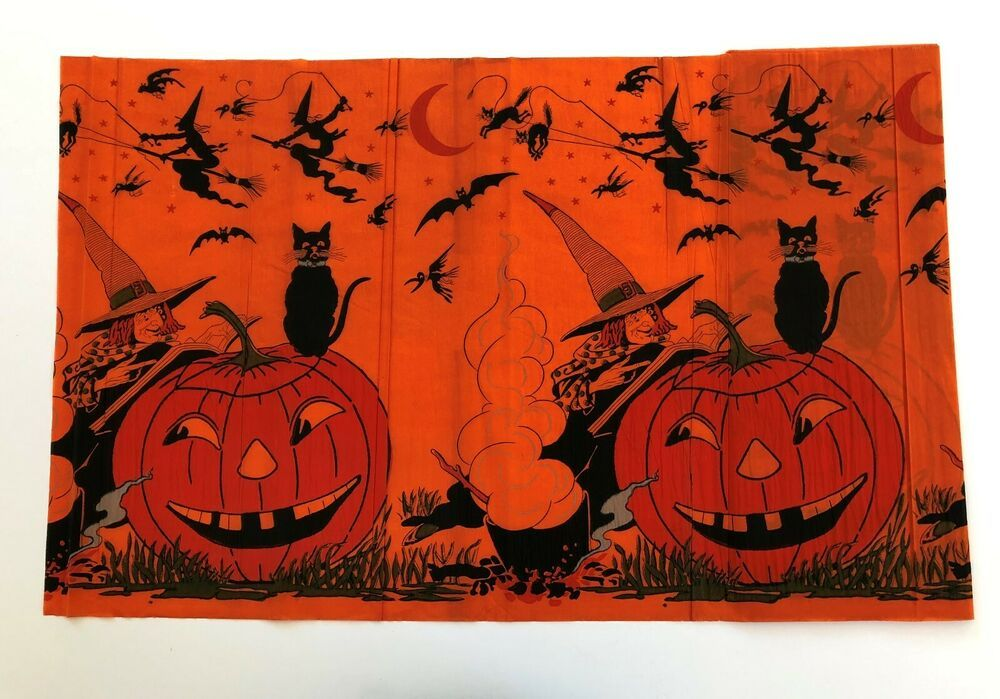Vintage Halloween CREPE PAPER BOLT COMPLETE and NEAR