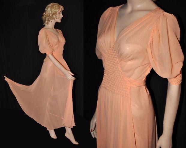 1930s Waffle-Smocked Silk Chiffon Nightgown