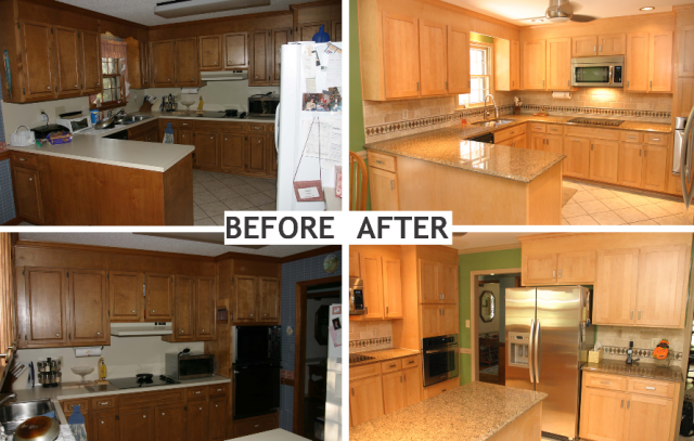 How To Resurface Kitchen Cabinets The First Step Is Refacing The Sides Of Cabinets The Drawers And Doors This Step Is Done With Veneer And Stain