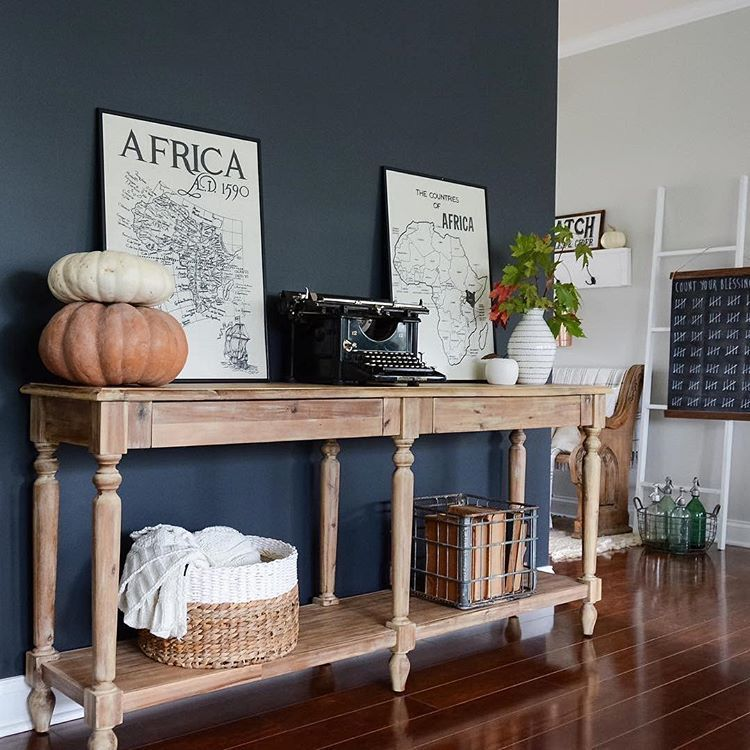 We Love How Our Everett Foyer Table Looks Up Against Marycasachic S Stunning Dark Wall Wi Accent Walls In Living Room Living Room Paint Dark Grey Living Room