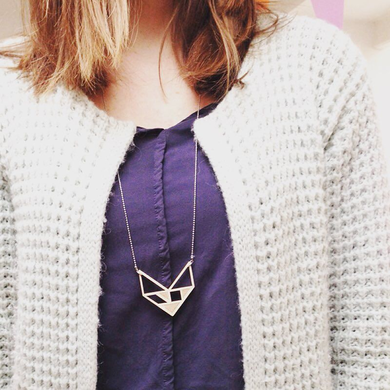 // BLUE MONDAY // Spoil yourself on this gloomy day with a gift to you! Tangram lasercut Chevron necklace from FSC birch wood. >link in bio< #bluemonday #spoilyourself #longnecklace #lasercut #jewelry #igstyle #igfashion by origamizoo