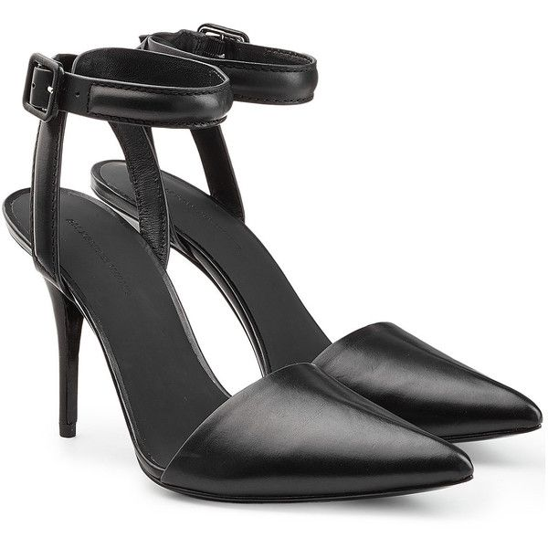Alexander Wang Pointed Pumps ($465) ❤ liked on Polyvore featuring shoes, pumps, heels, zapatos, black, black heel pumps, heels stilettos, black pumps, pointed toe shoes and ankle strap pumps
