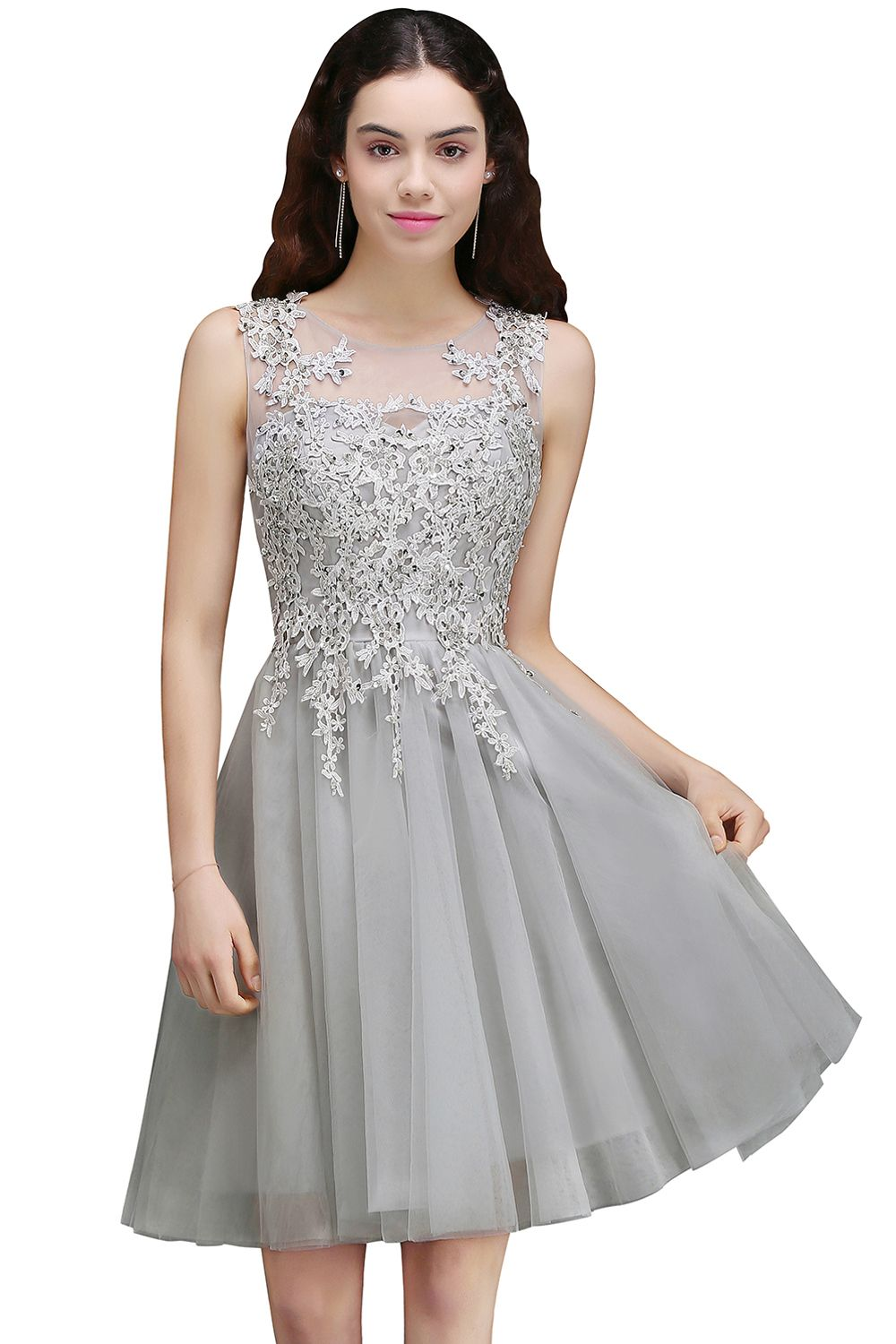 f19f3ec05a1 silver lace applique bridesmaid dress homecoming cocktail gowns ...