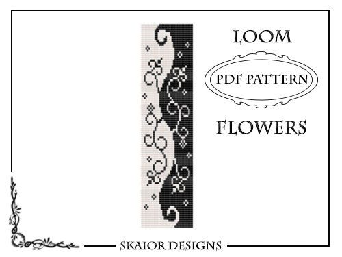 PDF Two Tone loom beading pattern for a seed beads black white swirl flourish floral loom bracelet or square stitch design. ● This is an Instant Download, which means that once you pay a download link will be sent to the email associated with your Etsy account, so make sure to give a valid email address.   PLEASE NOTE: This is NOT a tutorial, this is a beading pattern. Materials and instructions are NOT included. You should be familiar with the loom technique in order to make this bracelet…