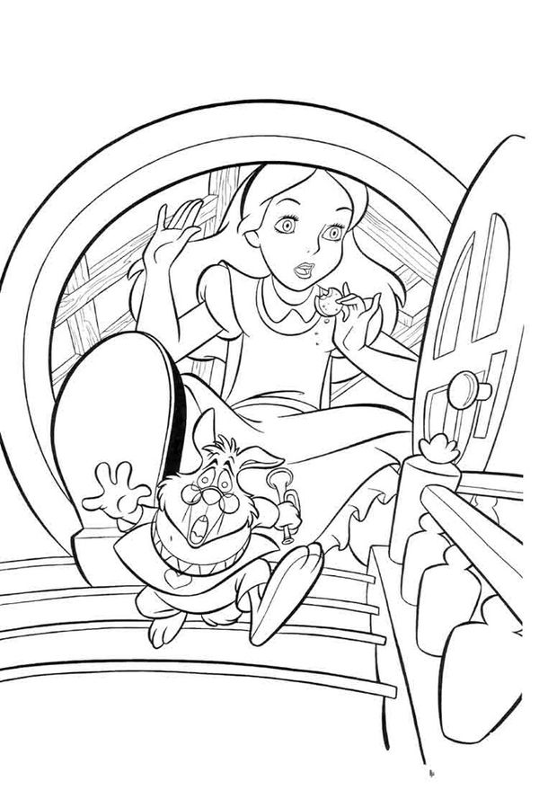 Coloring Book Layout : Alice in white rabbits house layout drawing 1 disneys