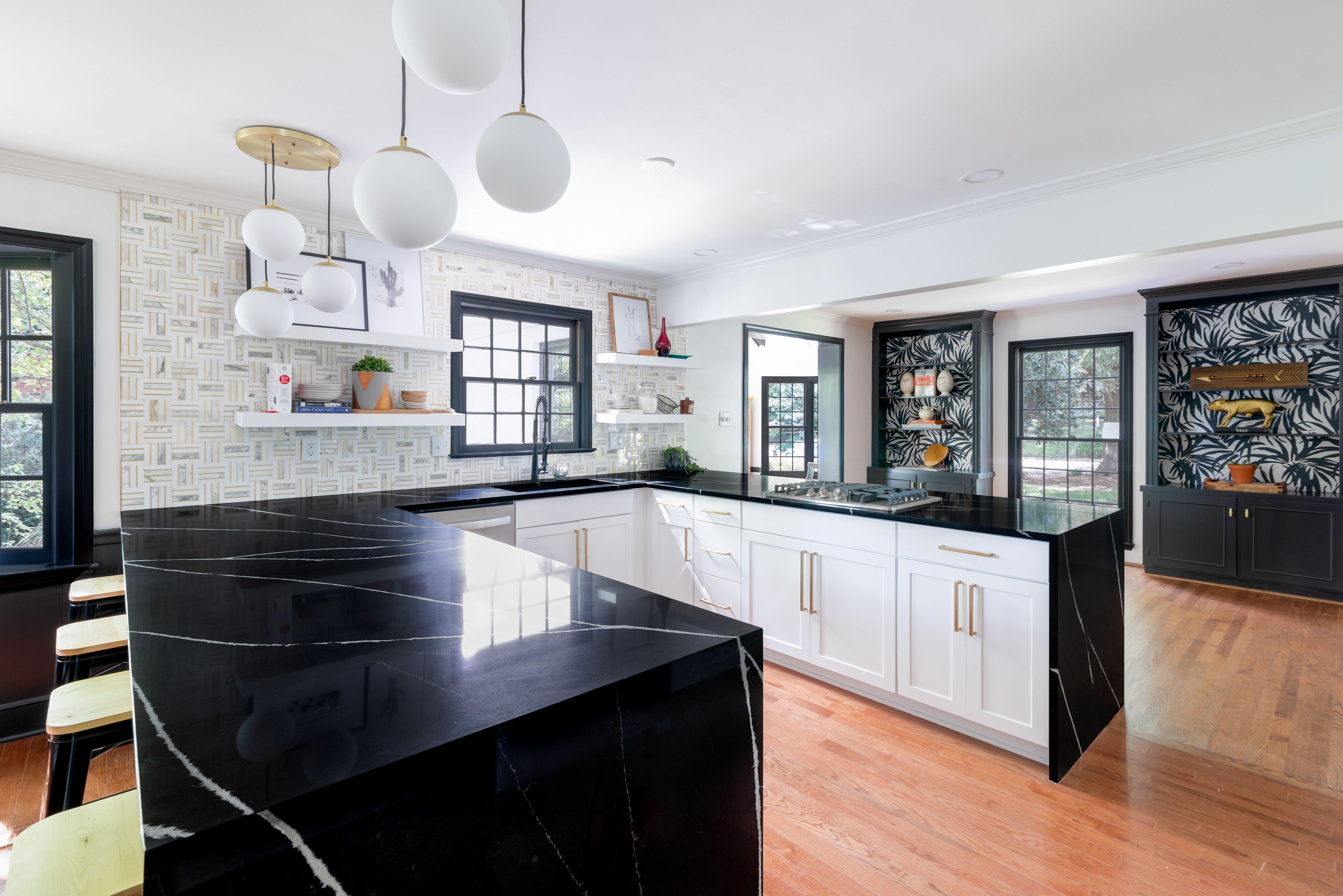 Modern Kitchen Remodel Using Eternal Marquina Silestone Quartz