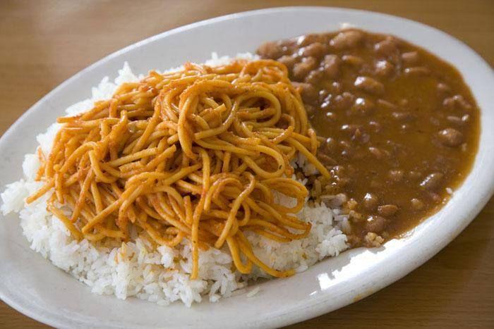 arroz blanco espaguetis y habichuelas guisadas  Comida Dominicana  Comida dominicana Comida Espaguetis
