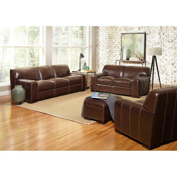 Carreyton 4 Piece Top Grain Leather Living Room Set Leather