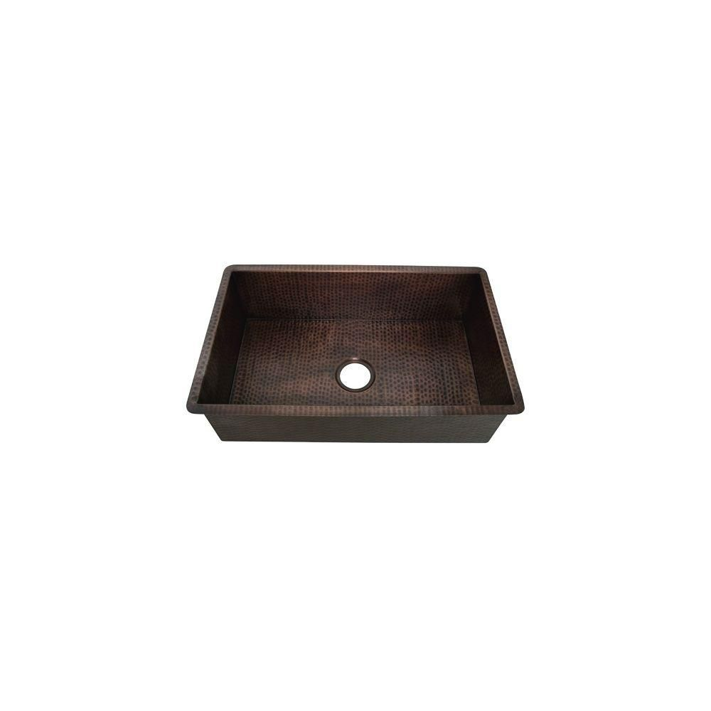 Belle Foret Farmhouse Sink Belle Foret Undermount Weathered Copper 30 5 In Hole Single