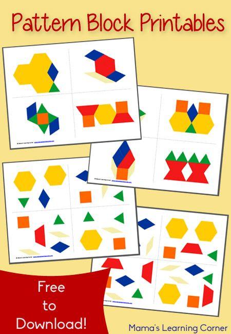 Plantillas sencillas de bloques geométricos, #Pattern_Blocks #bloques_geométricos #geometría