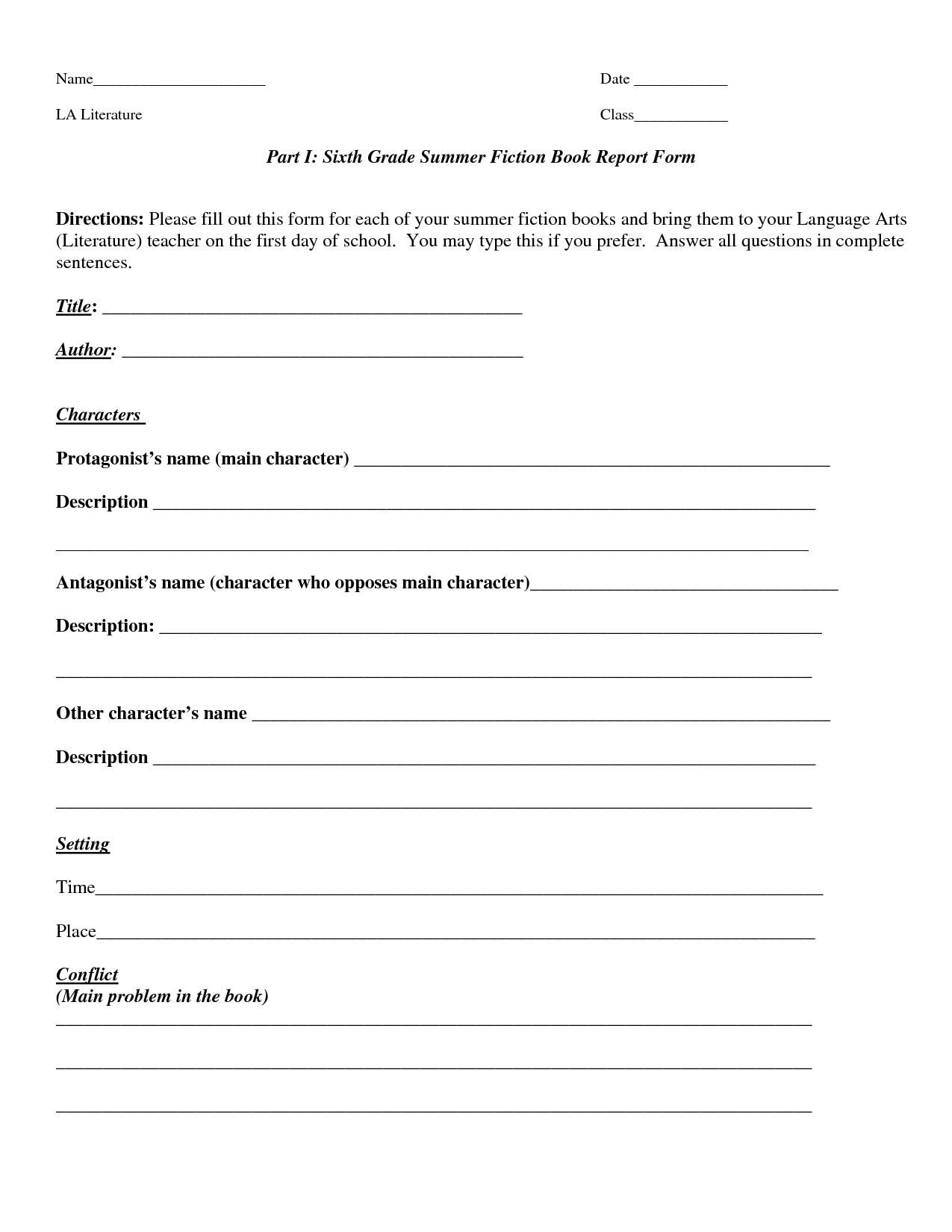 Book Report Template  Part I Sixth Grade Summer Fiction Book