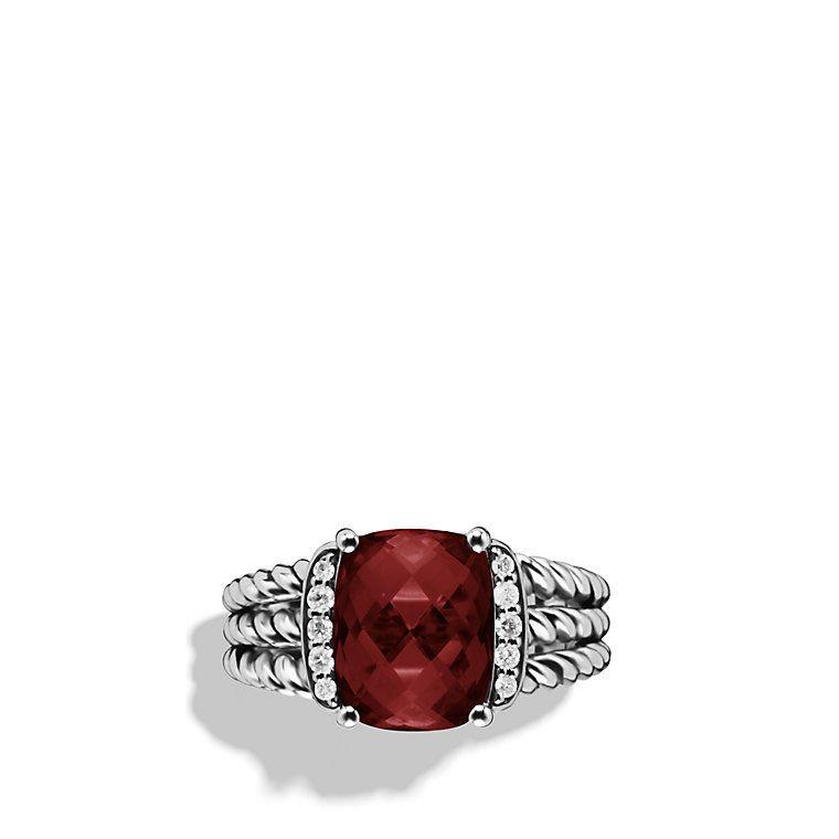 David Yurman Petite Wheaton Ring With Garnet And Diamonds 550 00 Garnet Is My Birthstone Jewelry Junkie David Yurman Ring Semiprecious Stone Jewelry