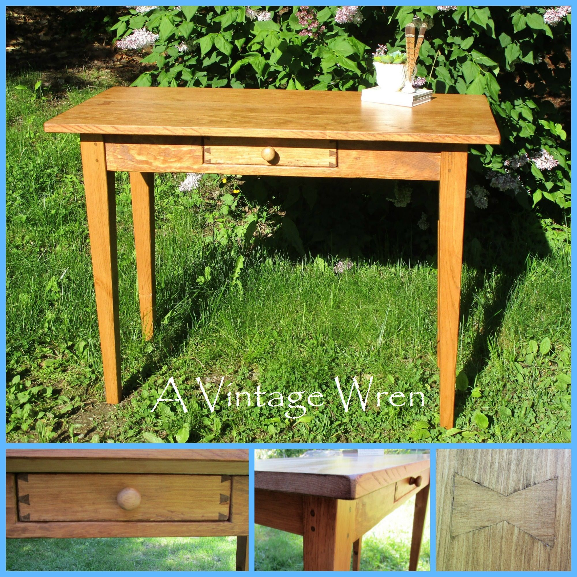 A Sweet Shaker Style Console Table, Made From Eastern White Pine, Stained  In A