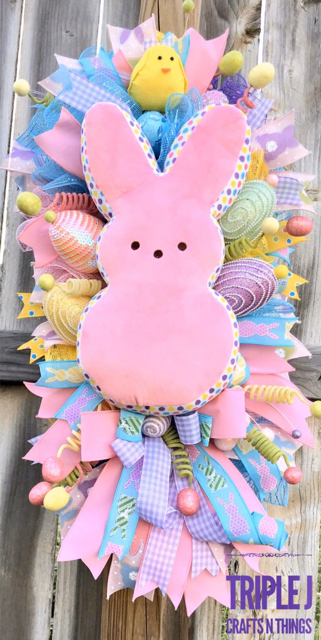 Spring Mesh Wreath Peeps Easter Swag Easter Wreath Easter Swag with Chicks