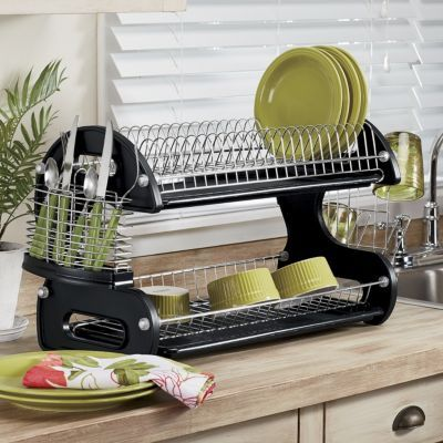 Home Basics 2 Tier Dish Rack Fascinating 2Tier Dish Rack  Dish Racks Dishes And Kitchens Design Ideas