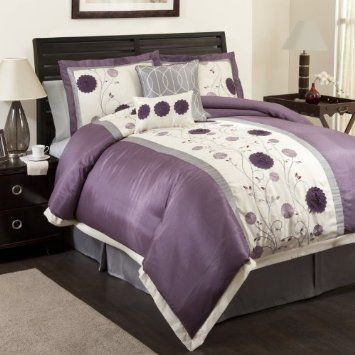Amazon Com Lush Decor Juliana 6 Piece Comforter Set Queen Purple