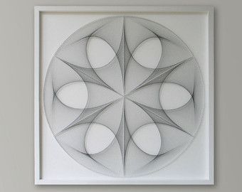 Zen Wall Art abstract zen wall art in silver gray, 3d sacred geometry string