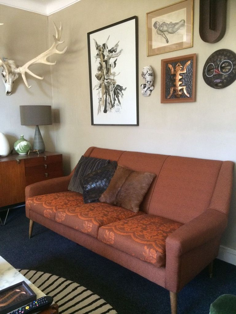 1950s vintage mid century sofa reupholstered in burnt orange vintage fabric - Mid Century Modern Furniture Of The 1950s