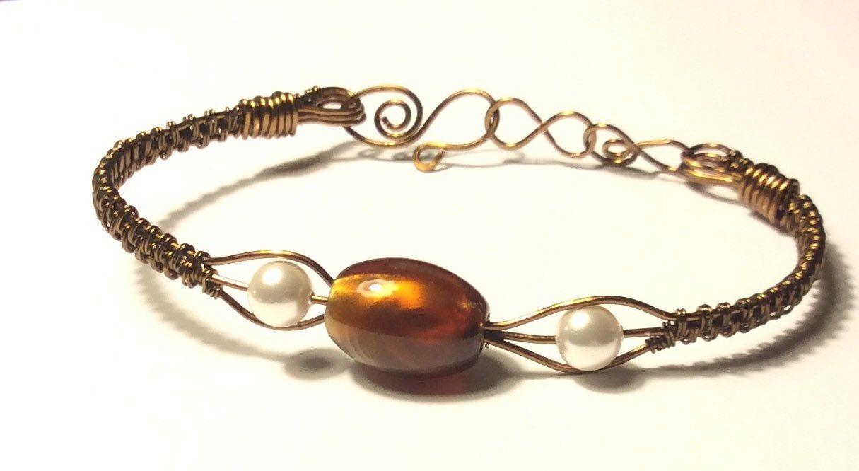 Vintage Bronze Wire Weave Bracelet with Tigers Eye Bead