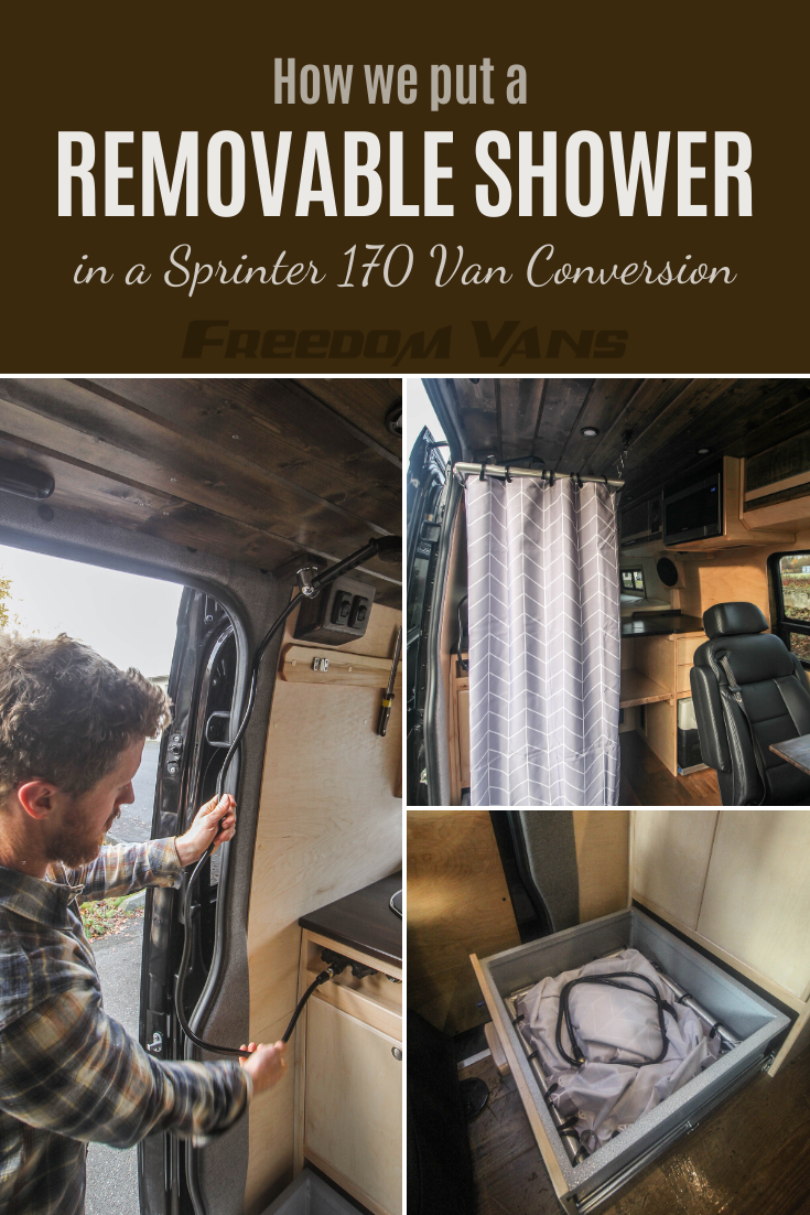 Photo of Removable Shower Inside a Van Conversion