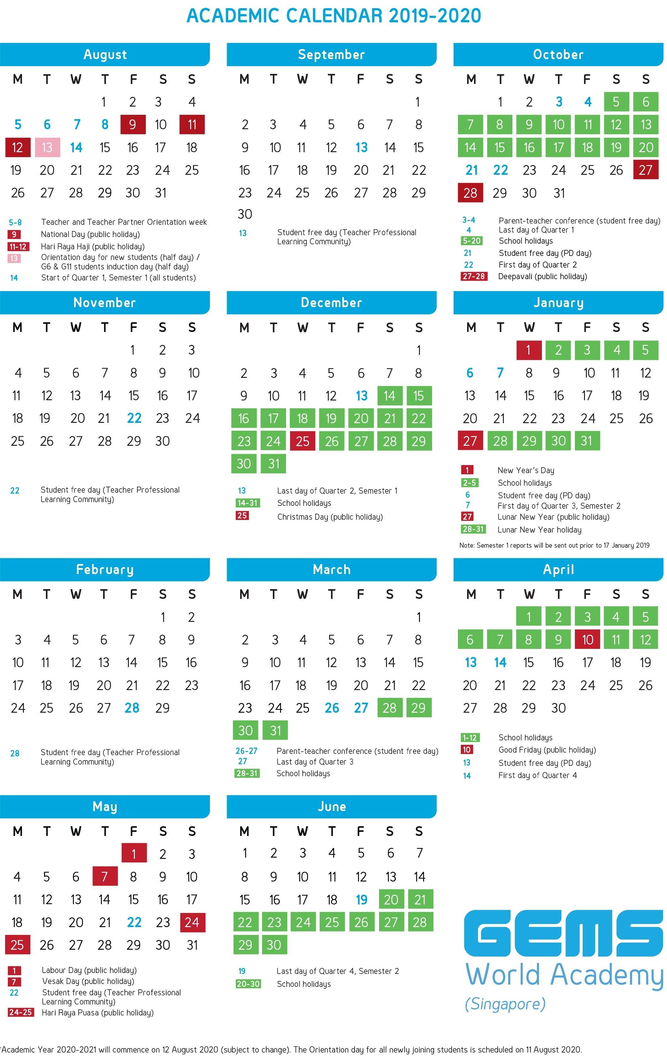 Academic Calendar Gems World Academy Singapore Make It Academic Calendar Singapore School Calendar