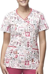 Carhartt Women's Princess Seamed Y-Neck Print Scrub Top in Heart Stamps C10307A $26.99 #carhartt #scrubcouture #scrubs #nurses #doctors