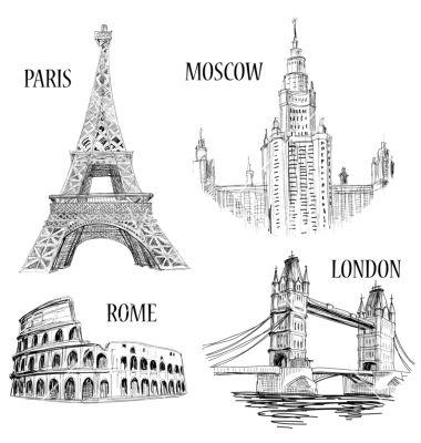 European Cities Symbols Sketch Vector On VectorStockR