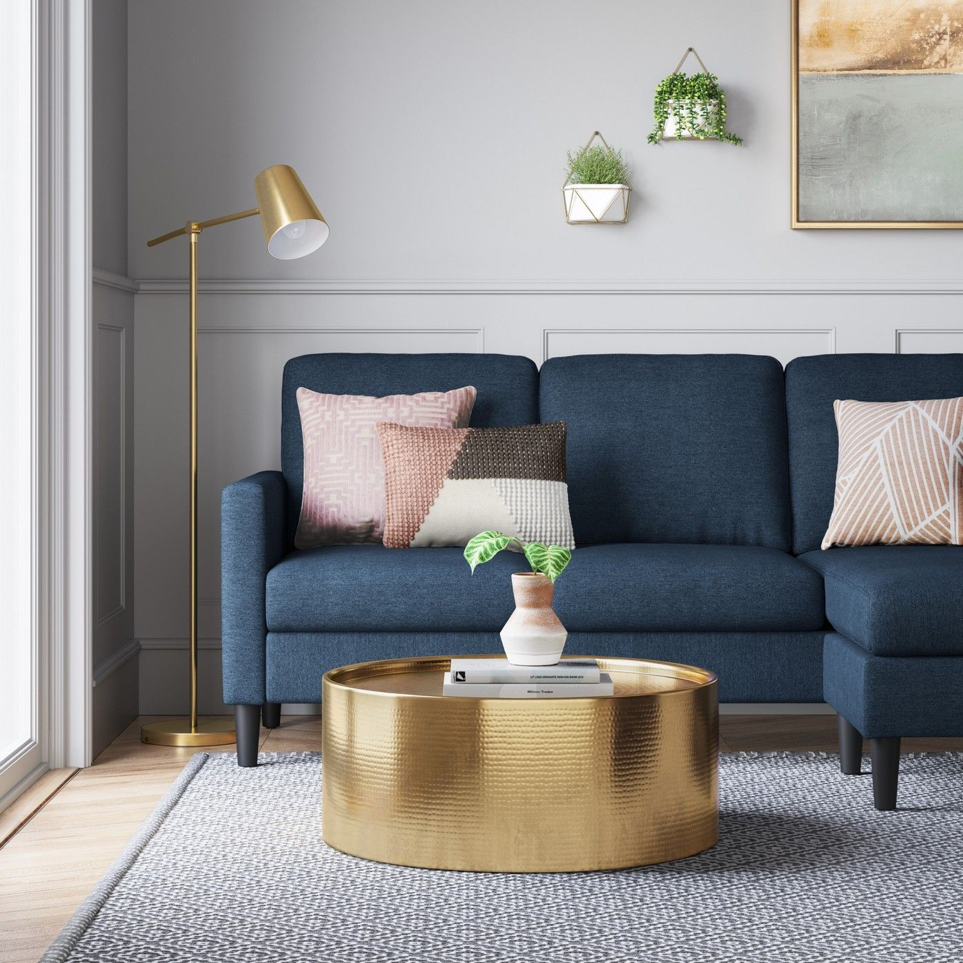 Blue Bellingham Sofa With Chaise From Target S Project 62 Line Livingroom Livingroomideas Co Blue Sofas Living Room Blue Couch Living Room Blue Sofa Living