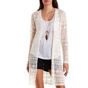 Charlotte Russe Ivory Long Sleeve Lace Duster Cardigan by ...