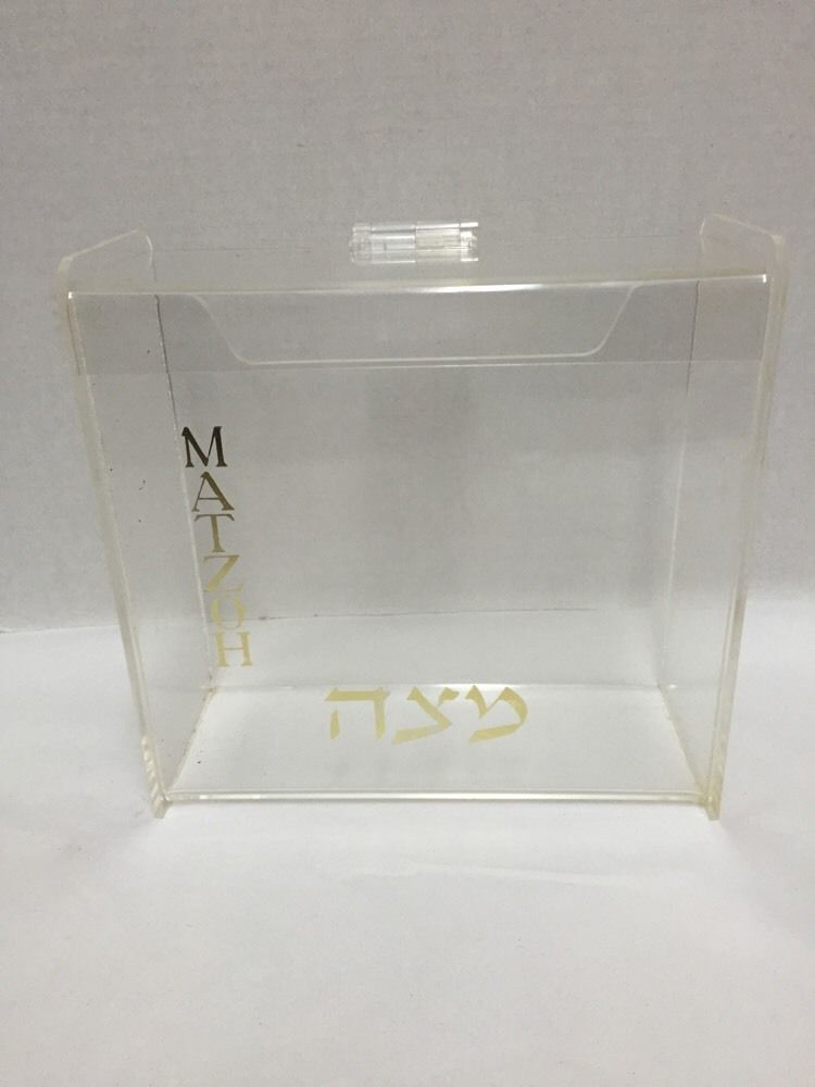 Passover Acrylic Covered Matzoh Matzo Box Storage Container Hinged