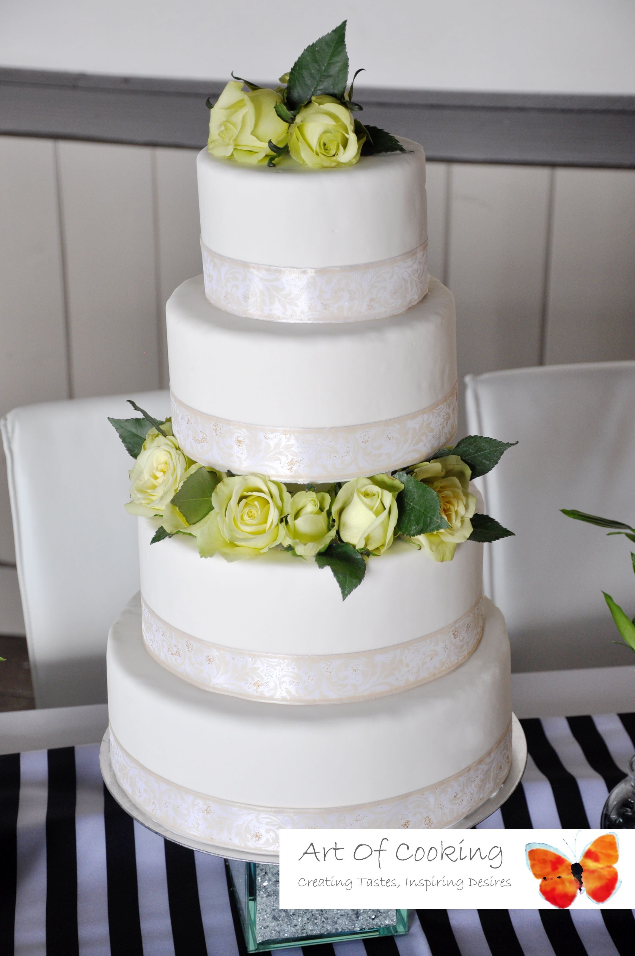 White Wedding Cake With Fresh Green Roses #white #wedding #cake ...