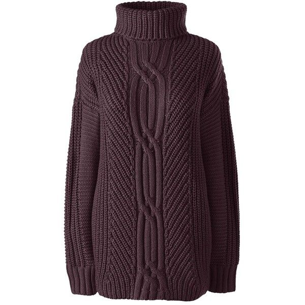 188aac96ef47 Lands  End Women s Petite Cable Turtleneck Sweater - Shaker ( 59 ...