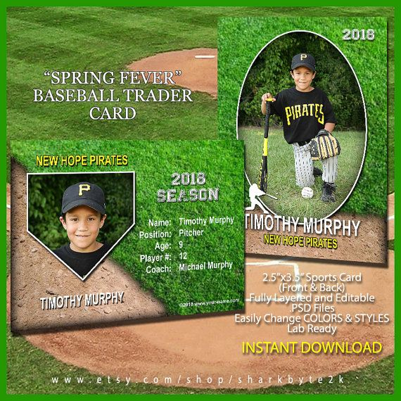 Baseball Sports Trader Card Template For Photoshop Spring Etsy Baseball Card Template Baseball Cards Cards