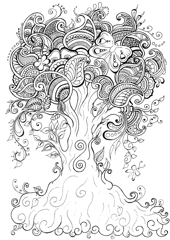 Картинки по запросу раскраски антистресс дерево