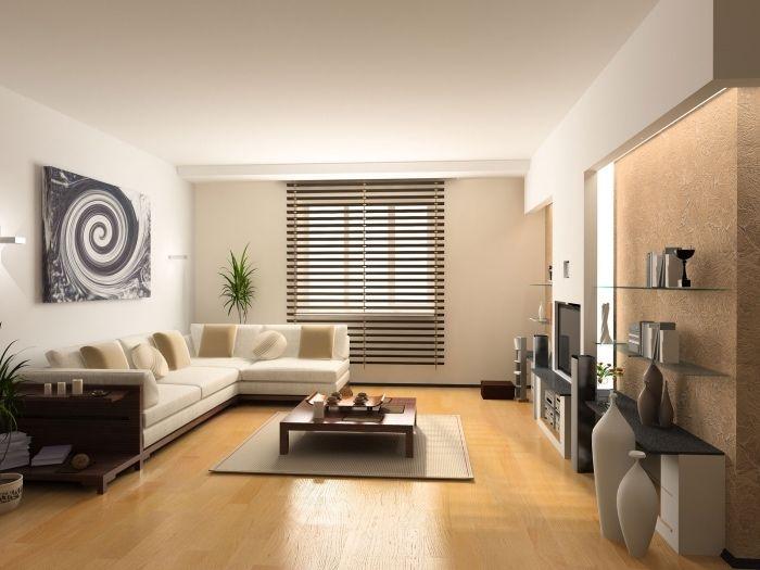 1001 conseils et id es pour am nager un salon blanc et beige chambre abs maison moderne - Salon blanc beige ...