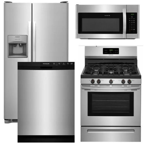 Package 14 Frigidaire Appliance Package 4 Piece Appliance Package With Gas Range Stainless Steel Sims 4 Kitchen Kitchen Appliance Packages Sims