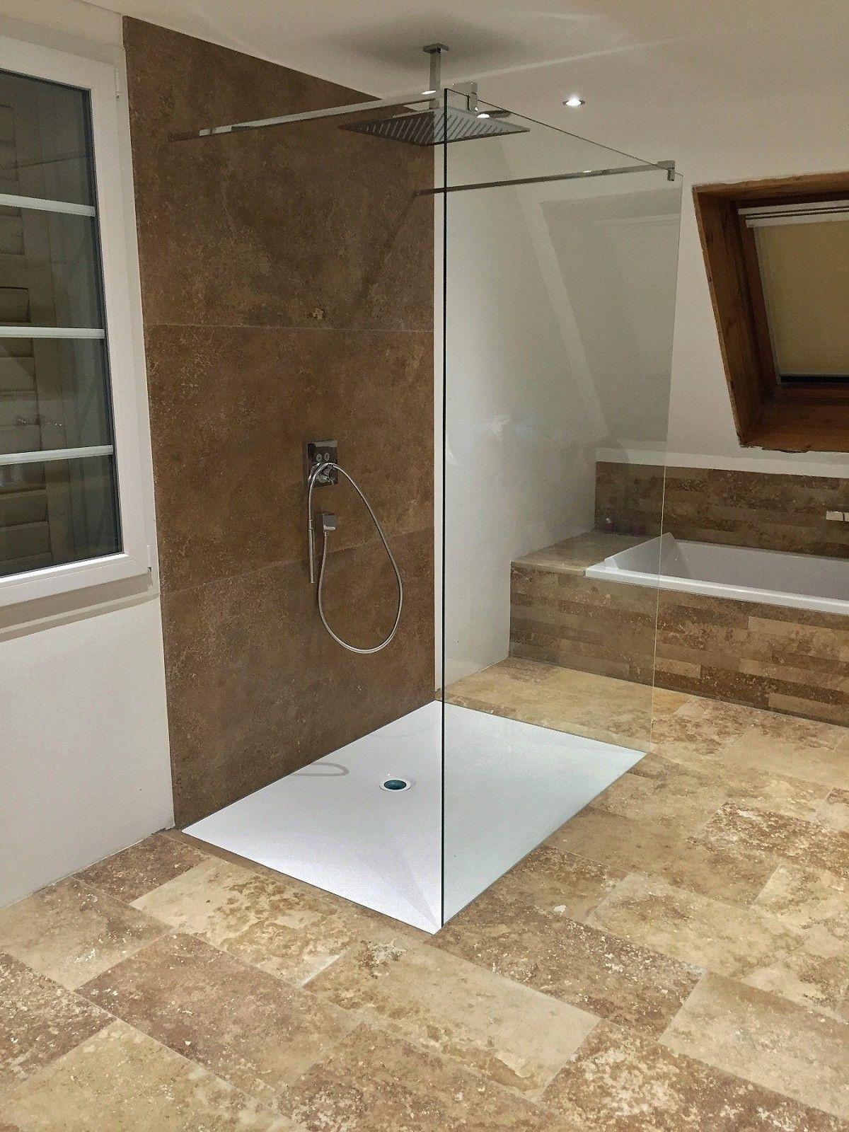 Travertin Noce Duschwand   Duschwand, Dusche, Wand