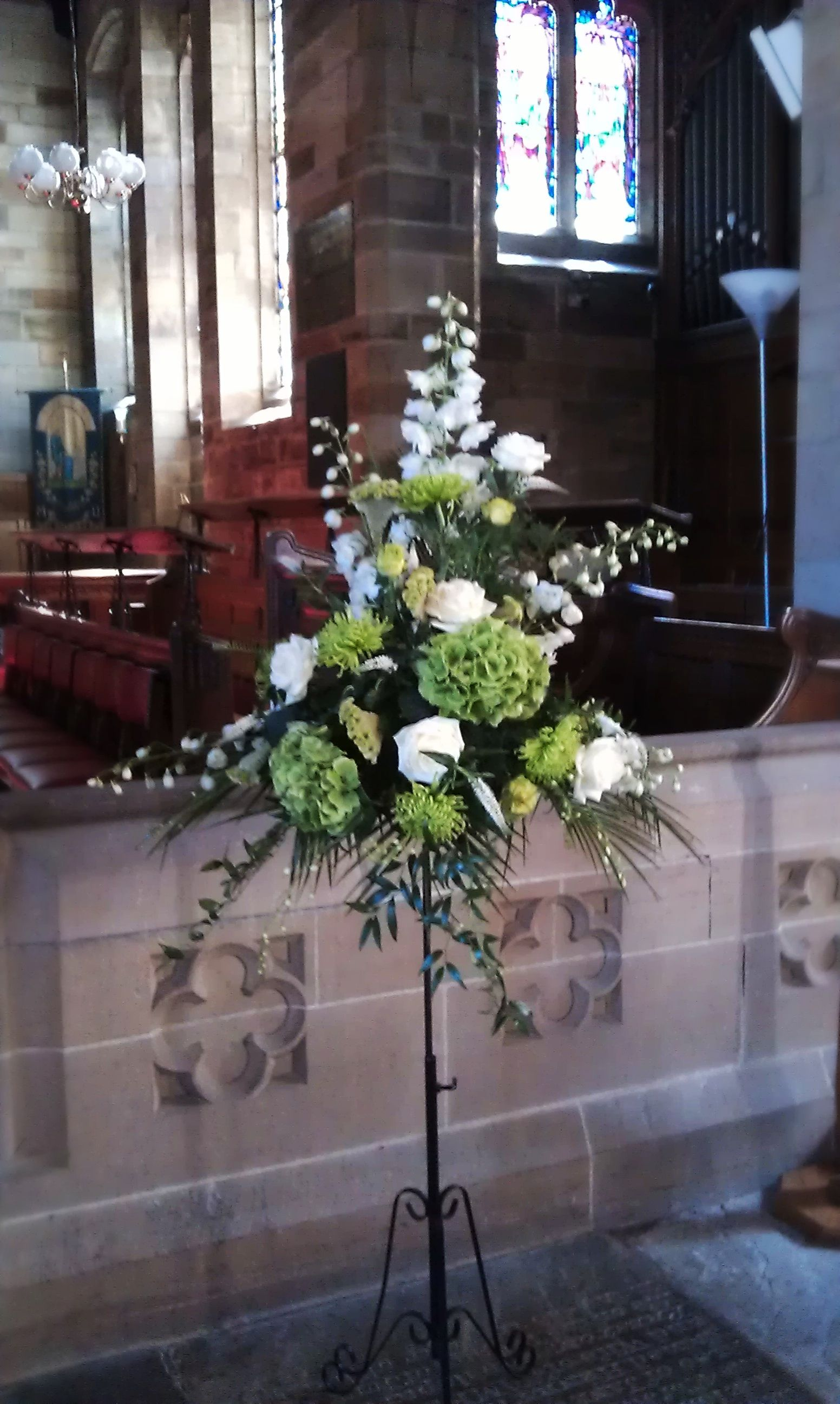 All white church wedding decor Church Wedding Decorations  standing flower arrangement with