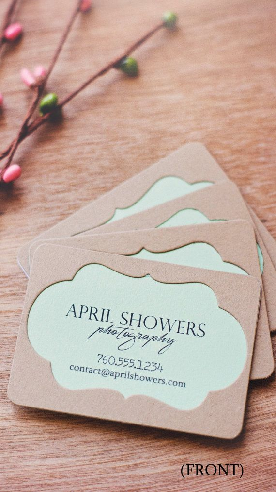 Homemade business cards. Kraft and mint green cardstock. Decorative ...