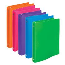 Brightly Colored Flexible Poly 3 Ring Binders 1 1 Each Case Of 24 From Deals Dollar Store Ring Binder Binder Accessories School Supplies Diy Notebook