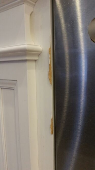 How To Repair Damaged Cabinet From Steam From A Dishwasher Vent Mdf Cabinets Refinishing Cabinets Kitchen Cabinets Repair