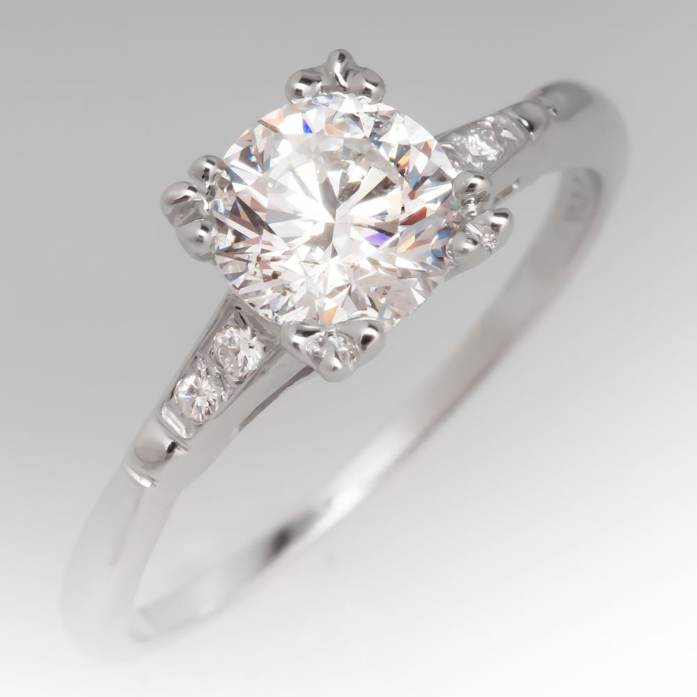 1 Carat Vintage Diamond 1940 S Engagement Ring Diamond Engagement Rings Vintage Vintage Engagement Rings Unique Diamond Rings